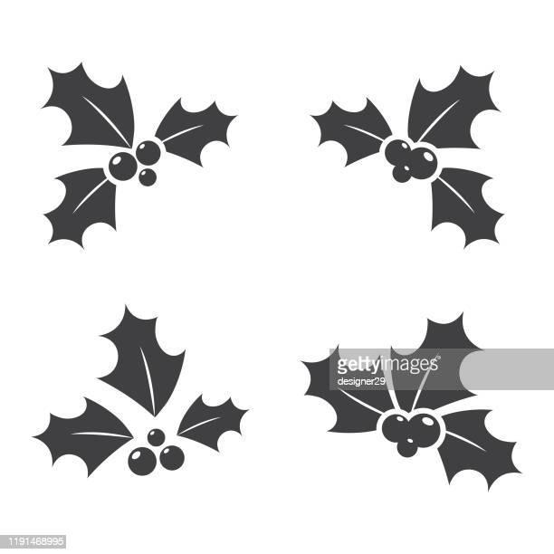 illustrations, cliparts, dessins animés et icônes de christmas holly icon set vector design. - houx
