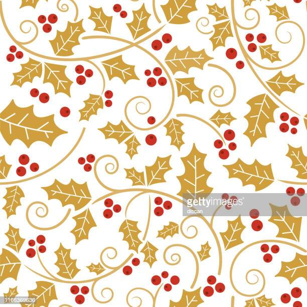 christmas holly vines and leaf seamless pattern. - tradition stock illustrations