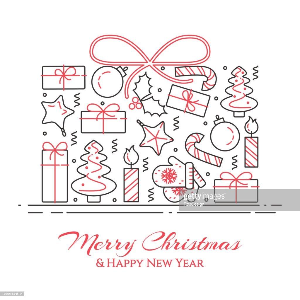 Weihnachten Horizontale Banner Mit Baum Geschenke Dekorationen In ...