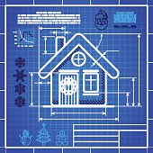 Christmas house icon like blueprint drawing