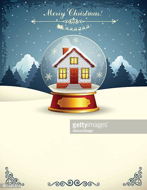 Christmas House in a Snow Globe
