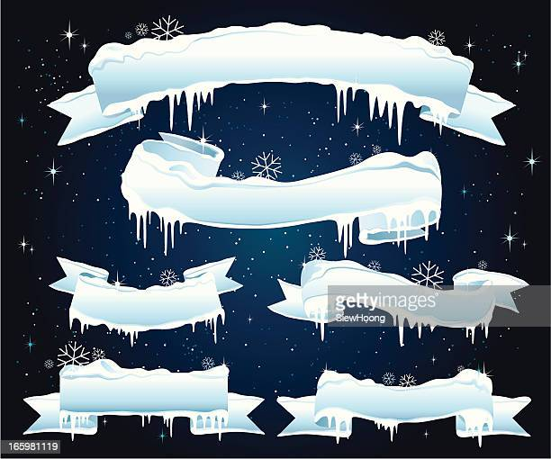 christmas ice banner - icicle stock illustrations
