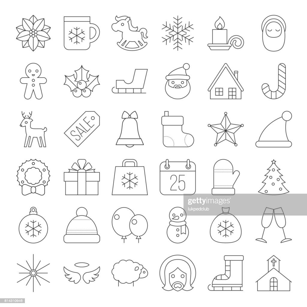 Christmas icon collection thin line vector