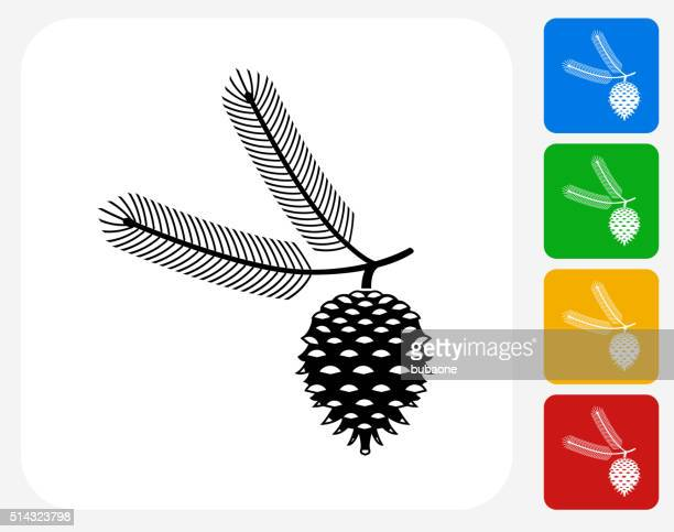 christmas icon flat graphic design - pine cone stock illustrations, clip art, cartoons, & icons