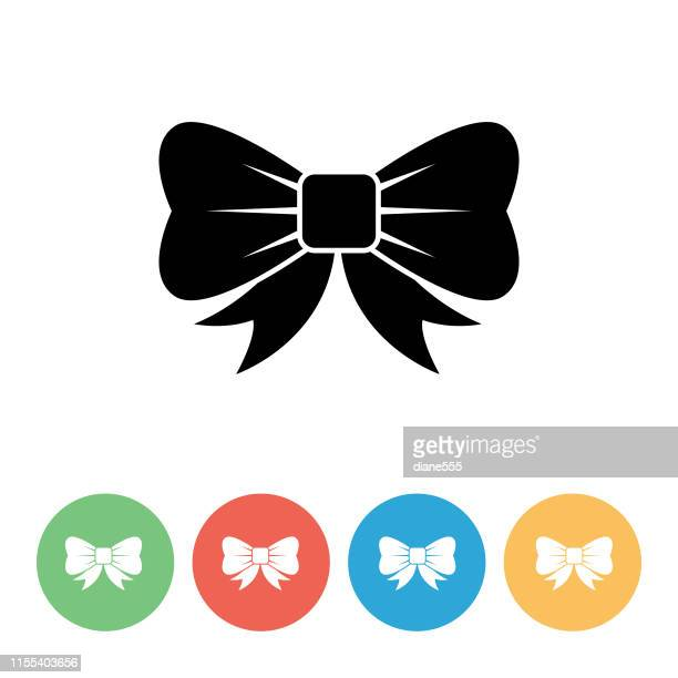 christmas icon on a flat circle - tied bow stock illustrations