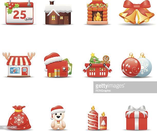 christmas icon set | elegant series - goodie bag stock illustrations, clip art, cartoons, & icons