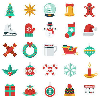 Christmas Icon Set in Flat Design Style - gettyimageskorea