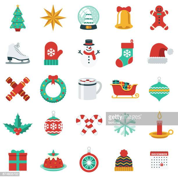 christmas icon set in flat design style - group of objects stock illustrations