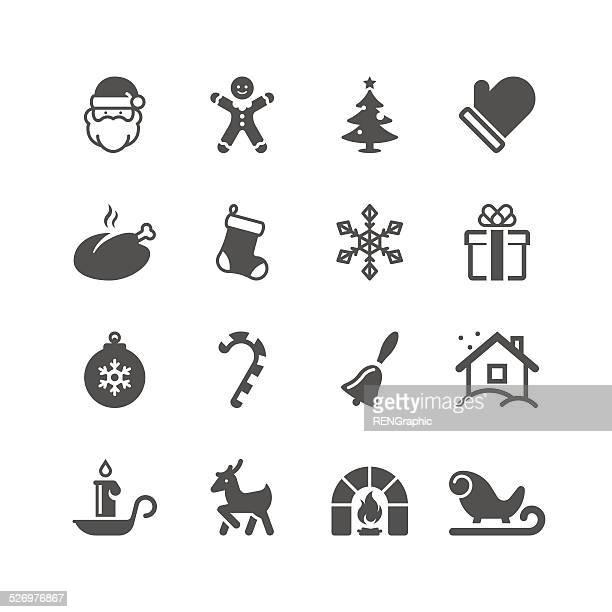 クリスマスのアイコンセット/ユニークなシリーズ - サンタ ソリ点のイラスト素材/クリップアート素材/マンガ素材/アイコン素材