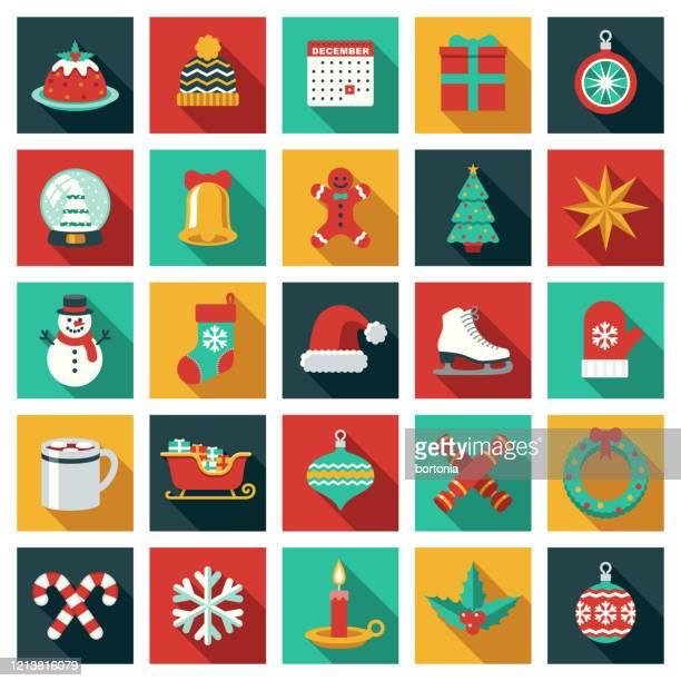 christmas icon set - christmas decore candle stock illustrations