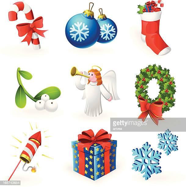 stockillustraties, clipart, cartoons en iconen met christmas icon set - strikje