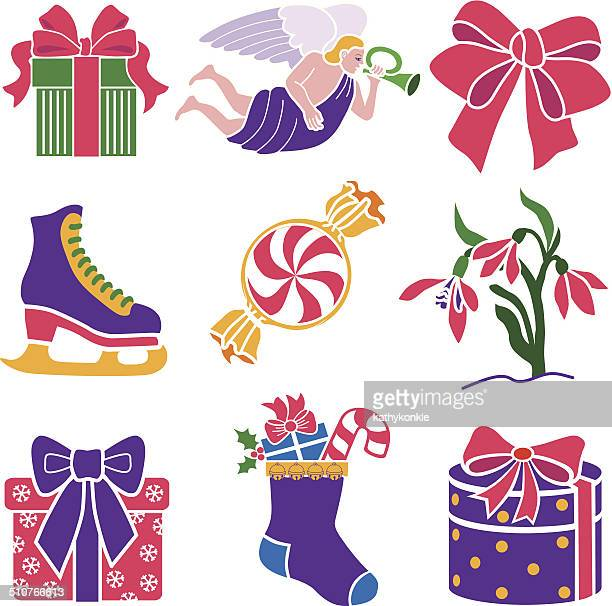 Christmas icon set with pink and purple theme