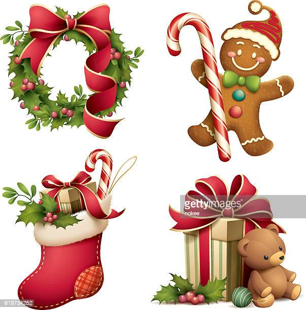 christmas iconographic's set - gingerbread man stock illustrations
