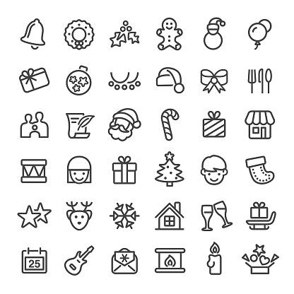 Christmas Icons - Big Line Series - gettyimageskorea