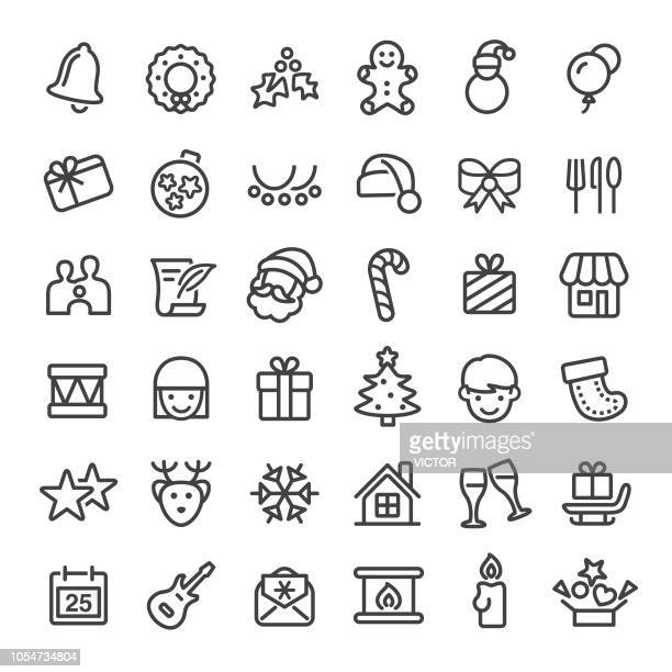 christmas icons - big line series - gift stock illustrations