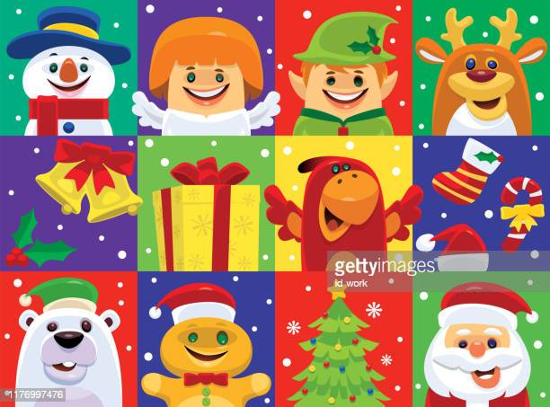 christmas icons / characters - gingerbread man stock illustrations