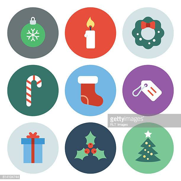 christmas icons — circle series - candy cane stock illustrations