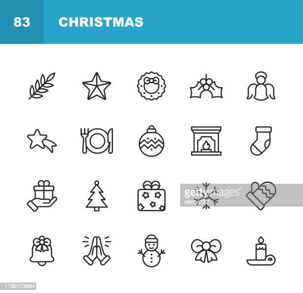 christmas icons. editable stroke. pixel perfect. for mobile and web. contains such icons as christmas, christmas decoration, santa claus, christmas gift, snowflake, winter, christmas hat, religion, church, celebration, snowman, glove, gift, praying. - christmas decore candle stock illustrations