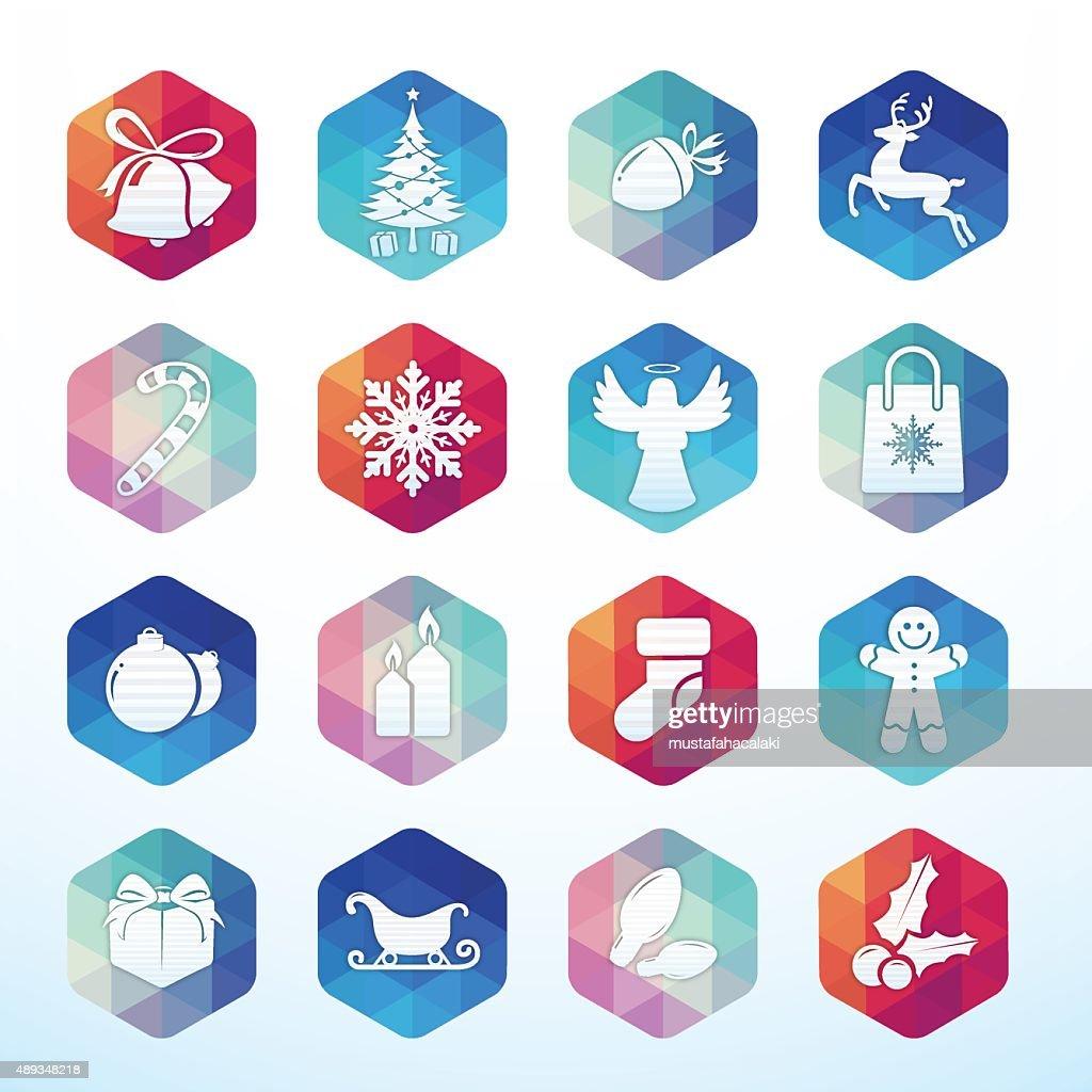 Christmas icons hexagon buttons : stock illustration