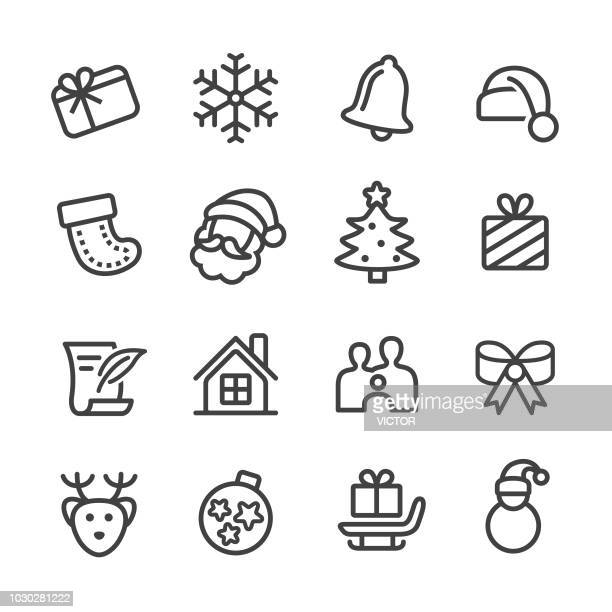 christmas icons - line series - bell stock illustrations