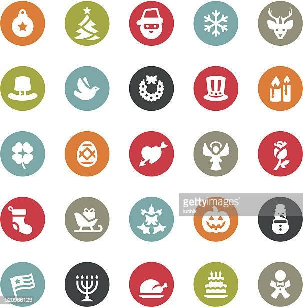 christmas icons / ringico series - national holiday stock illustrations, clip art, cartoons, & icons