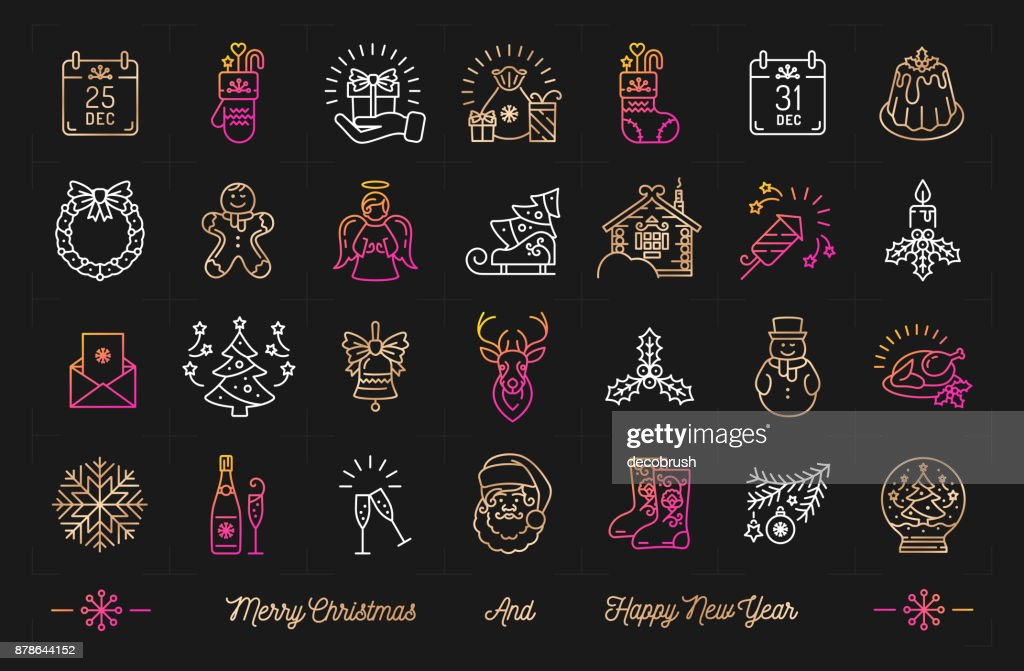 Christmas icons set, Happy New Year icon, Celebration party isolated symbols. Winter holiday thin line icons, Trendy Art Deco decoration elements. Gradient vector signs