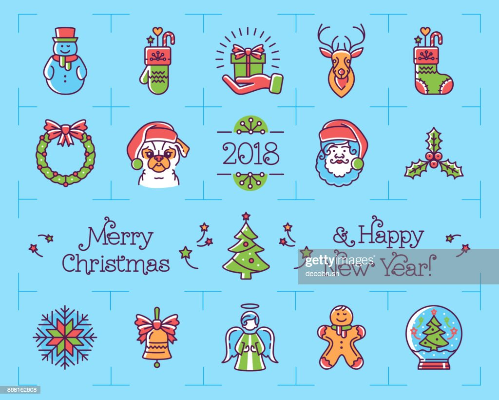 Christmas icons set, New Year symbols. Chinese zodiac year of the dog 2018, Vector flat illustration