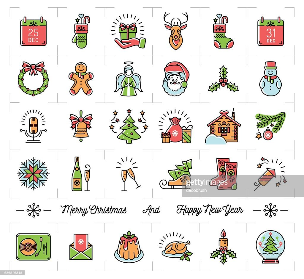 Christmas icons set, New Year symbols, Winter Holiday decoration elements