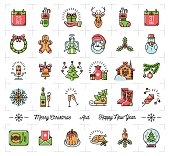 Christmas icons set, New Year symbols, Winter Holiday decoration elements