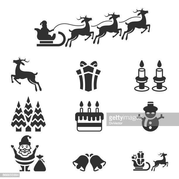ilustraciones, imágenes clip art, dibujos animados e iconos de stock de conjunto de iconos de navidad - decorar