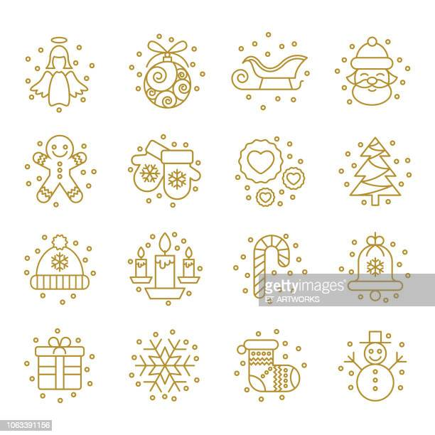 christmas icons set - vector - gingerbread man stock illustrations