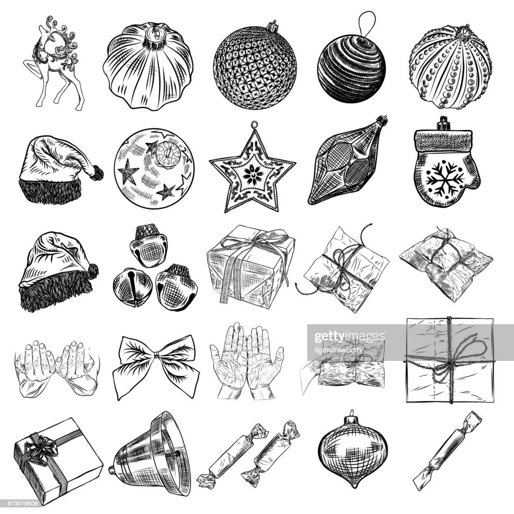 c98989b2 ... hat, mitten, jingle bell, plants, scissors, wrap boxes with bows,  glove, candy. Holiday hand drawn sketch collection DIY designs. Vector. - stock  vector
