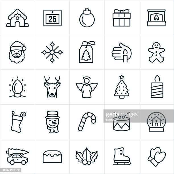christmas icons - gingerbread man stock illustrations