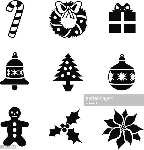 ilustraciones, imágenes clip art, dibujos animados e iconos de stock de iconos de navidad - flor de pascua