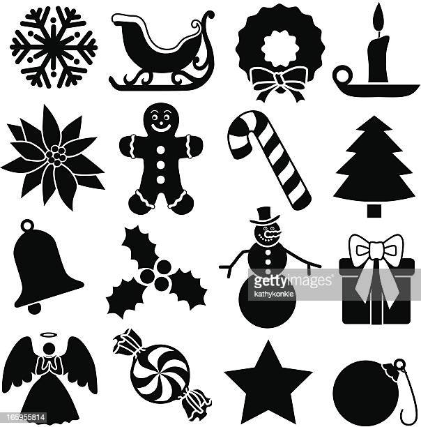 christmas icons - stencil stock illustrations
