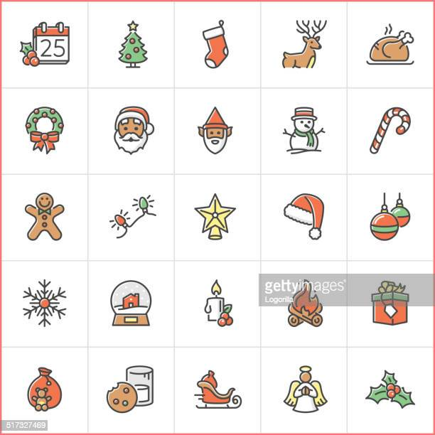 christmas icons - candy cane stock illustrations