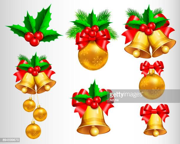 christmas icons - bell stock illustrations