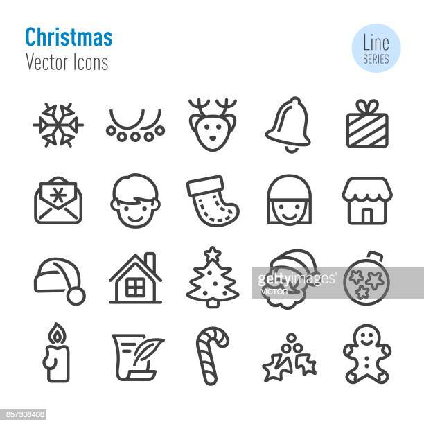 christmas icons - vector line series - shopping list stock illustrations, clip art, cartoons, & icons