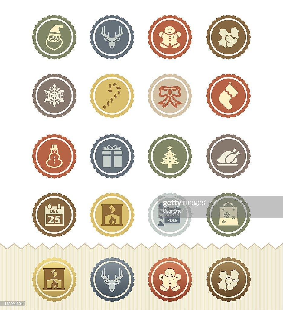 Christmas Icons : Vintage Badge Series : stock illustration