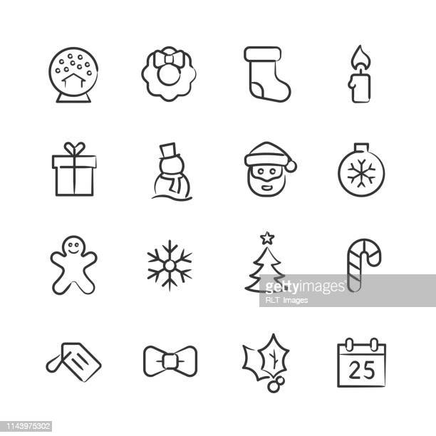 christmas icons—sketchy series - gingerbread man stock illustrations