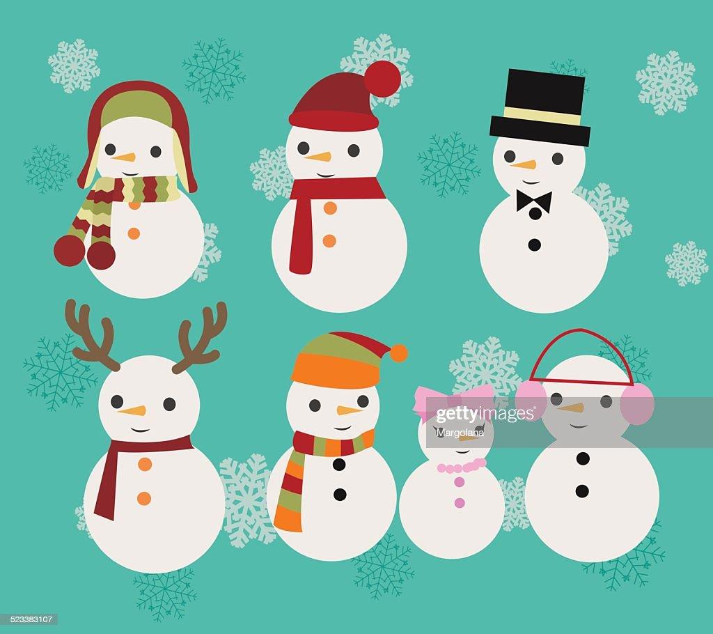 Christmas Illustration set of snowmen