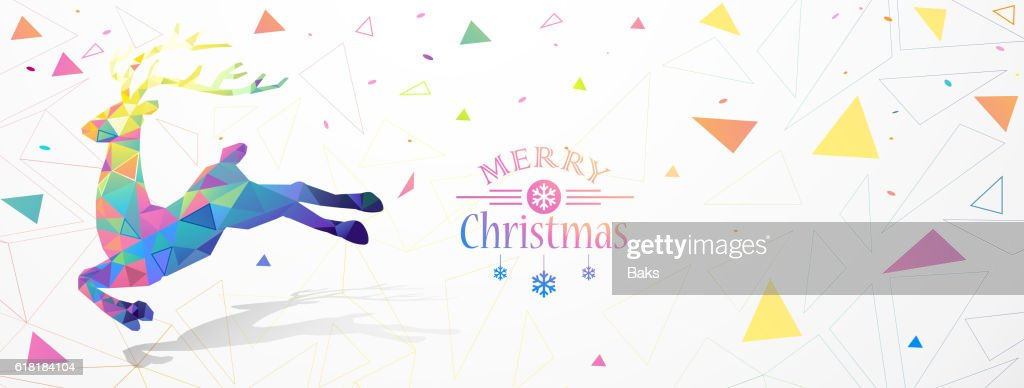 Christmas illustration with color deer Low Poly