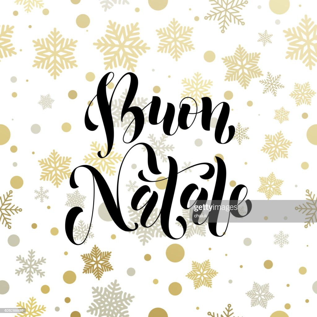 Christmas In Italy Buon Natale Golden Greeting Card Lettering Vector