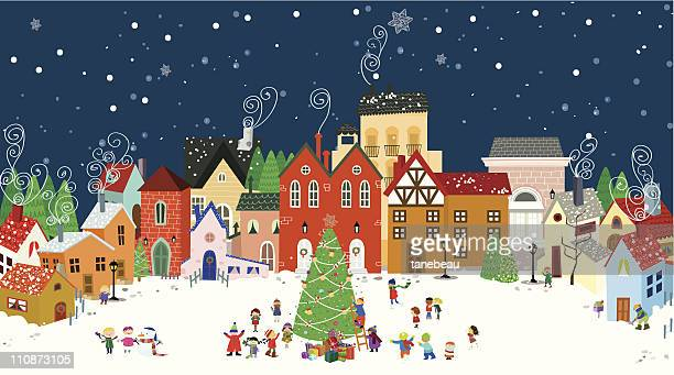 christmas in town - town stock illustrations