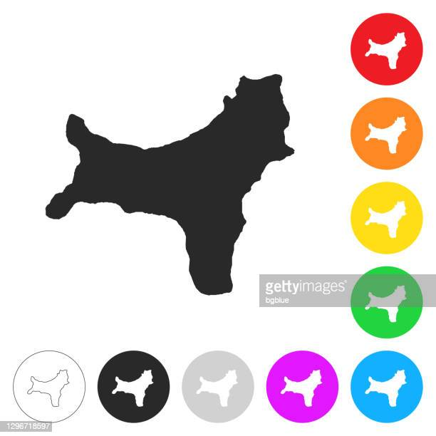 christmas island map - flat icons on different color buttons - christmas island stock illustrations