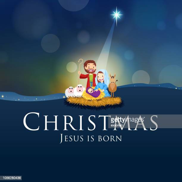 christmas - jesus is born - smiling jesus stock illustrations