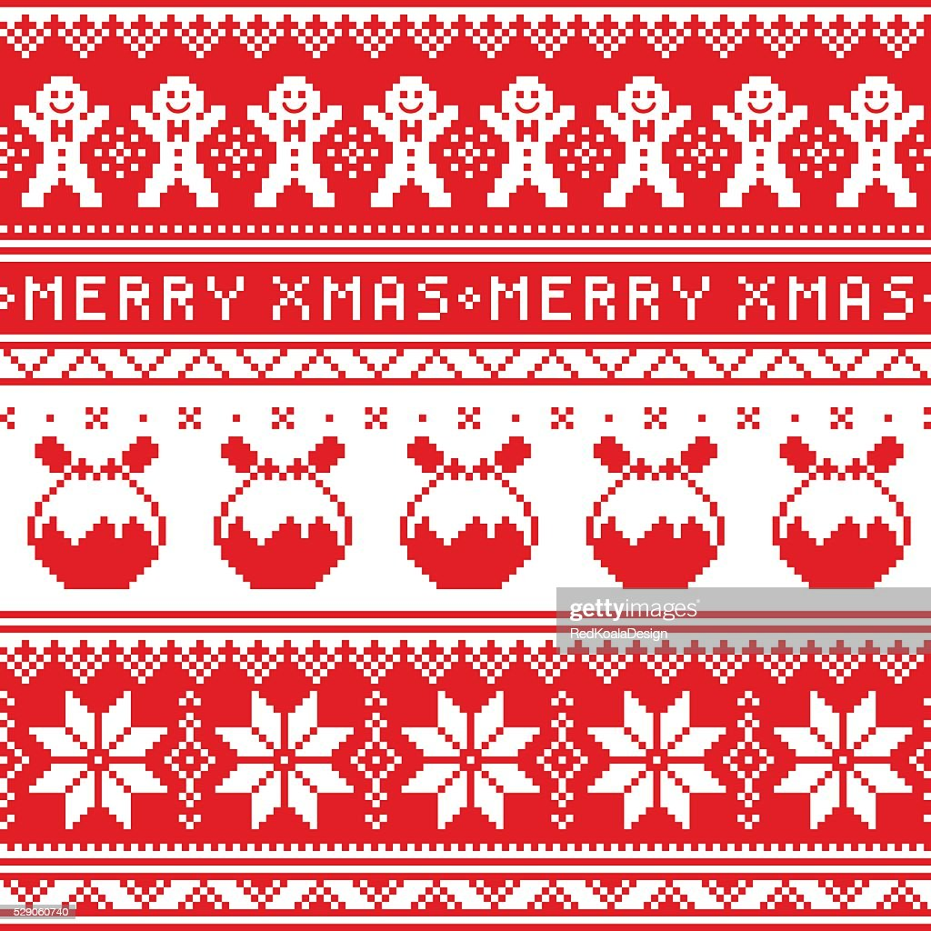 Christmas jumper or sweater seamless pattern with Christmas pudding