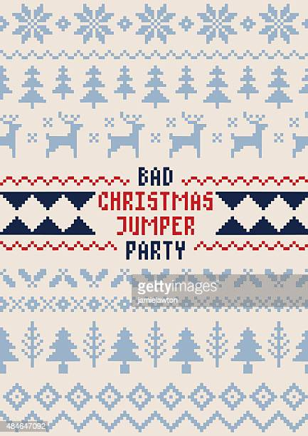 christmas jumper party poster - handmade seamless pattern - ugly christmas sweater party stock illustrations