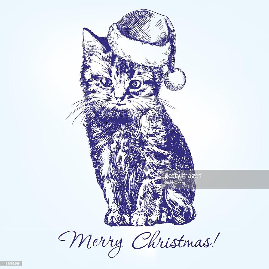 Christmas kitten in Santa stocking hat hand drawn vector llustration