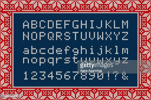 Christmas Knitted Font Latin Alphabet Letters And Numbers On